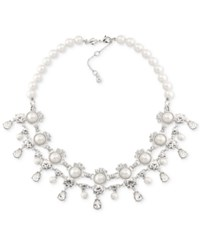 Carolee Silver Tone Imitation Pearl And Crystal Collar Necklace