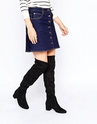 New Look Faux Suede Over The Knee Boot Black