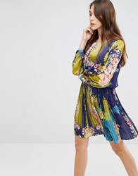 Lavand Bright Floral Skater Dress Blue Multi