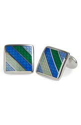 Men's David Donahue Enamel Cuff Links Green Silver