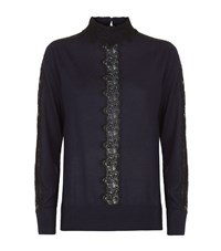 Sandro Lacey Wool Sweater Female Blue