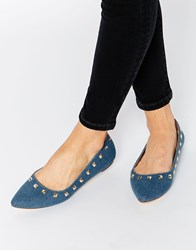Truffle Collection Nicky Stud Point Flat Shoes Blue