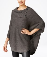 Amy Byer Bcx Juniors' Cowl Neck Poncho Sweater Dark Gray