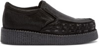 Underground Black Calf Hair Creeper Loafers