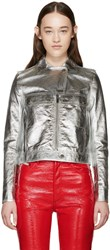Courreges Silver Metallic Leather Jacket