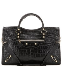 Balenciaga Giant 12 City Embossed Leather Tote Black