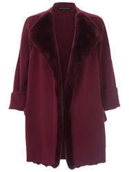 French Connection Whistler Faux Fur Cardigan Biker Berry