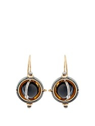 Elie Top Diamond Onyx Silver And Gold Sphere Earrings