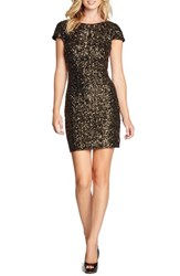 Women's Dress The Population Scooped Back Sequin Body Con Dress Antique Gold