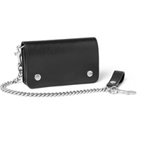 Saint Laurent Chain Trimmed Leather Wallet Black