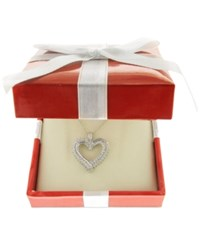 Macy's Diamond Heart Pendant Necklace 1 2 Ct. T.W. In 10K White Or Yellow Gold White Gold