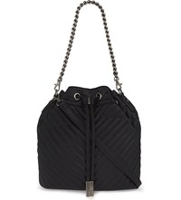 Aldo Specialty Quilted Bucket Bag Black Leather