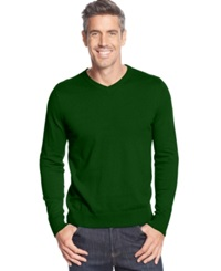 John Ashford Big And Tall Solid V Neck Sweater Forest Green