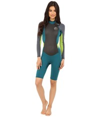 O'neill Bahia Long Sleeve Spring Deep Teal Graphite Lime Women's Wetsuits One Piece Blue