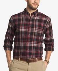 G.H. Bass And Co. Men's Big And Tall Plaid Flannel Long Sleeve Shirt Black
