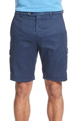 Peter Millar Men's Linen Blend Cargo Shorts Navy