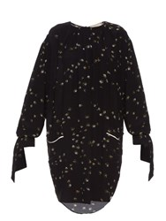 Preen Line Balloon Sleeved Daisy Print Crepe Dress Black