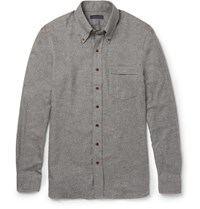 Thom Sweeney Button Down Collar Cotton Flannel Shirt Gray