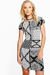 Boohoo Paisley Print Mini Bodycon Dress Black