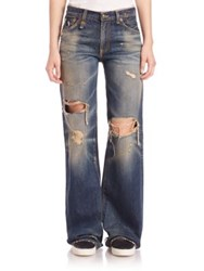 R 13 The Jane Distressed Wide Leg Jeans Disco Blue