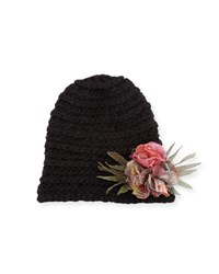 Grevi Knit Flower Beanie Hat Black