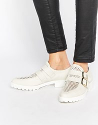 Miista Bhu Buckle Leather Flat Shoes White