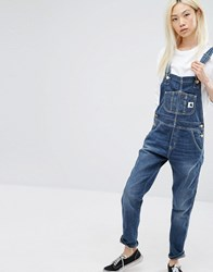 Carhartt Wip Bib Overall Dungarees With Front Logo Blue