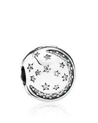 Pandora Design Pandora Clip Sterling Silver And Cubic Zirconia Twinkling Night Moments Collection Clear Silver