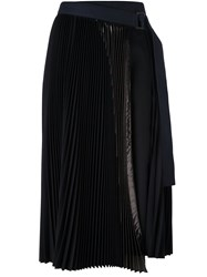 Sacai Pleated Lame Wrap Midi Skirt Blue