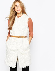 Asos Gilet In Curly Faux Fur With Belt Cream