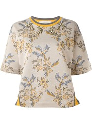 Stella Mccartney Embellished Floral Print Jersey Nude And Neutrals
