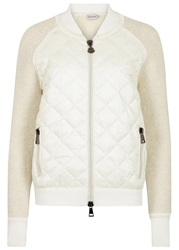 Moncler Cream Boucle And White Shell Jacket