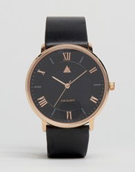 Asos Leather Strap Watch With Rose Gold Highlights Black