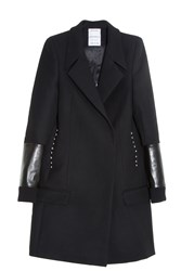 Anthony Vaccarello Leather Panelled Coat Black