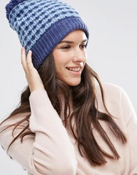 Alice Hannah 2 Tone Bobble Beanie Denim Blue