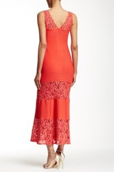 Sangria Lace Combo Gown Petite Size Red