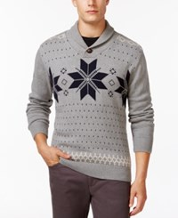 Weatherproof Fair Isle Shawl Collar Sweater Grey Heather