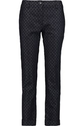 Dolce And Gabbana Printed Low Rise Straight Leg Jeans Blue