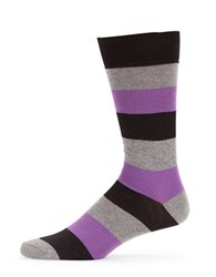 Black Brown Striped Dress Socks Black