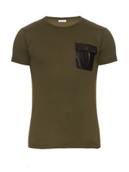 Tomas Maier Faux Leather Patch Cotton T Shirt Green