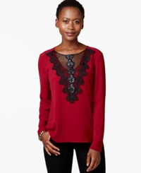 Ny Collection Faux Leather Trim Embroidered Illusion Blouse Biking Red