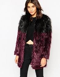 Glamorous Faux Fur Coat In Two Tone Purpleblack