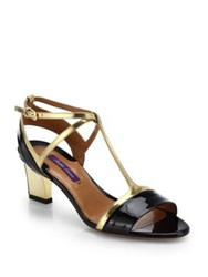 Ralph Lauren Nicki Metallic Leather And Patent Leather Sandals Navy Gold