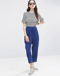 Asos Relaxed Sheer Check Peg Trousers Navy