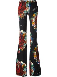 Philipp Plein Floral Print Flared Trousers Black