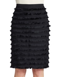 424 Fifth Ibiza Fringe Pencil Skirt Black