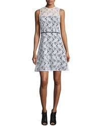 Carolina Herrera Sleeveless Sheer Yoke Lace Sheath Dress Ivory Women's