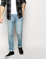 Cheap Monday Tight Skinny Jeans With Distressing Blue