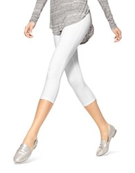 Hue Stretch Cotton Capri Leggings White
