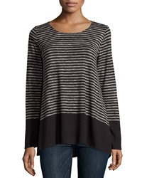 Max Studio Striped Long Sleeve Tee Black Ivor